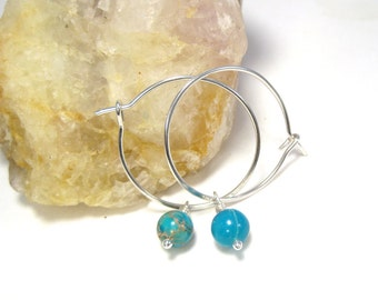 Silver Dangle Hoops with Blue Magnesite, Handmade Jewelry, Girlfriend gift, Inch Silver Hoops