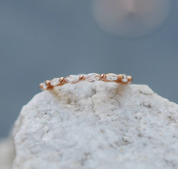 Unique Diamond band. Marquise diamond. Unique wedding band. Matching band.  Rose Gold Wedding Band Eternity Diamond band by EidelPrecious
