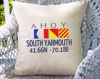 Customized Ahoy pillow (INCLUDES PILLOW INSERT)