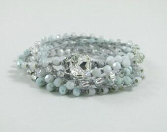 "Beaded Crochet 5x Wrap Bracelet or Long Beaded Necklace ""Mint Sensation""  - Item 1556"