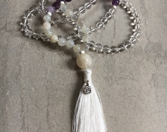 108 Bead Knotted Knotted Mindfulness Meditation Mala Moonstone Amethyst Clear Quartz Sterling Silver Om