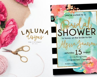 Bridal Shower Invitation, Floral Black & White Stripe Bridal Shower Invite, Gold Glitter Bridal Shower, Watercolor Invitation, DIY Printable