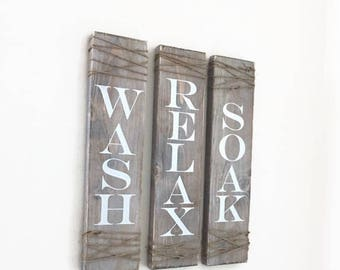 Rustic Bathroom Signs, Set Of Three Rustic Bathroom Decor, Rustic Bathroom Sign, Farmhouse Wall Decor, Wall Hanging, Wash Soak Relax Signs