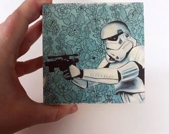 Star Wars Art Decor Storm Trooper Art on Wood Unique Star Wars Baby Nursery Art Decor Great Gift for Star Wars Fan