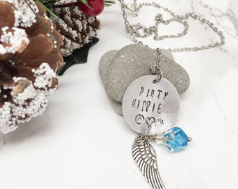 Gift for Hippie Wife Dirty Hippie Charm Necklace- Peace Love Flower Power Angel Wing December Birthstone OOAK Ready to Ship