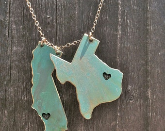 2 States Necklace, long distance love,turquoise,wedding,engagement, graduation,gift idea,christmas present, personalization