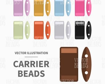 Vector Clipart Pack of Two-Hole Carrier Beads - Instant Download