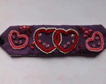 Embroidered Cuff Bracelet with Beaded Hearts