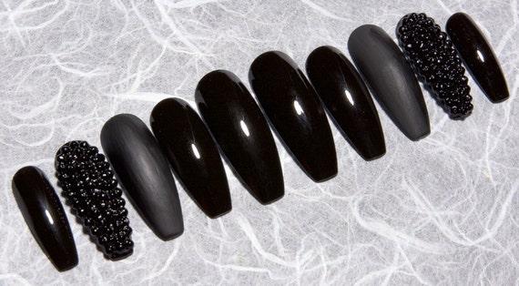 Black Fake Nails With Rhinestones