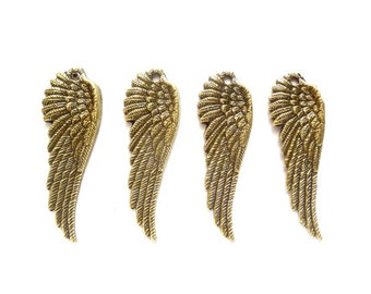 4 Antique Bronze Angel Wing Charms - 22-6-5