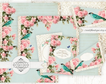 Flowers&Birds Vintage Printable Journal Kit. Instant Download.