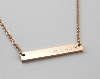 Personalized Bar Necklace - Rose Gold Necklace - Roman Numeral Necklace - Girlfriend Necklace - Name Necklace - Wedding Gift - Date Necklace