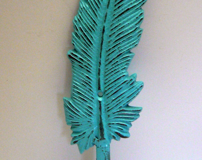 Feather Cast Iron Boho Wall Hook Turquoise Shabby Chic Bohemian Home Decor