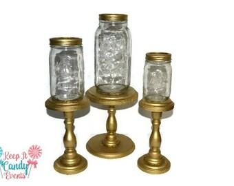 Gold Mason Jar Apothecary Jars, Gold Decorative Jars, Home Decor, Shabby Chic, Candy Buffet, Mason Jar Candy Buffet, Gold Decor, Mason Jar