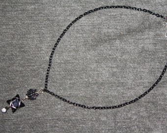 Onyx Spider Wire Wrapped Halloween Necklace and Bracelet Set