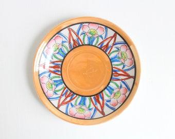 Vintage Ring Dish, Floral Ring Dish, Flower Ring Dish, Blue Ring Dish, Orange Ring Dish, Ring Dish, Jewelry Dish, Trinket Dish Blue & Orange
