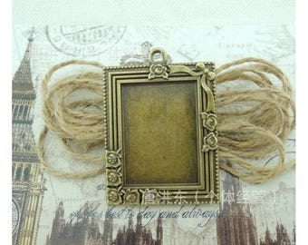 Frame pendants etsy 2 x bronze tone frame pendants mozeypictures Gallery