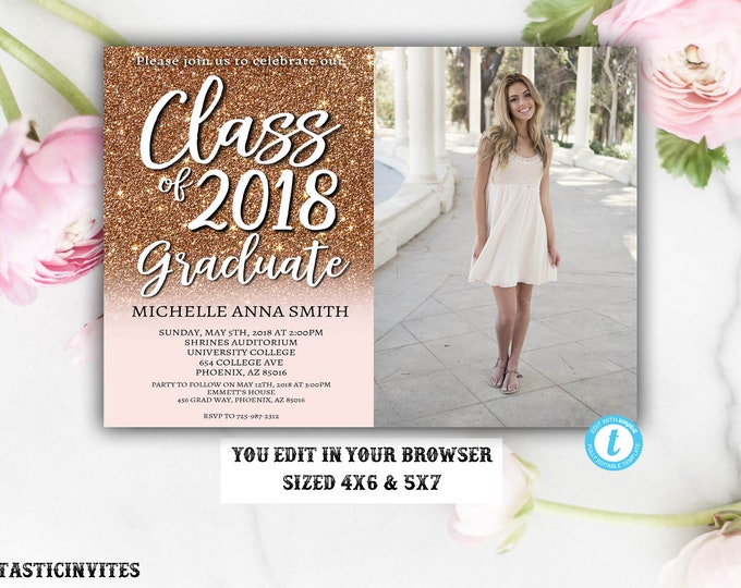Rose Gold Graduation Invitation Template, Instant Download, Glitter, Editable, Class of 2018, Graduation, Senior, High school, College, Edit