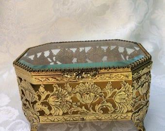 Vintage Gold Ormolu Jewelry Box, Casket, Trinket Box, Hollywood Regency