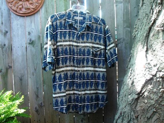 Raw Silk Block Print Shirt Men's Large lJnTYHvRd