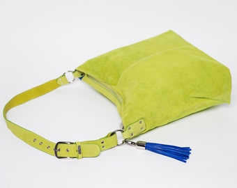 Handbag classic full grain leather suede / size large/ lime green