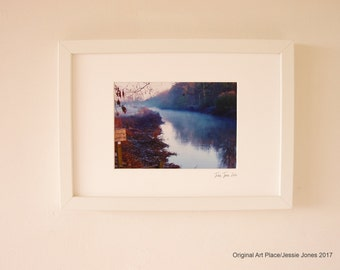 Small framed photograph, 'Misty River' by Jessie Jones