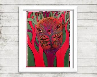 Tree Mask Art, Trippy Mask Art, Psychedelic Art, Mixed Media Art, Print