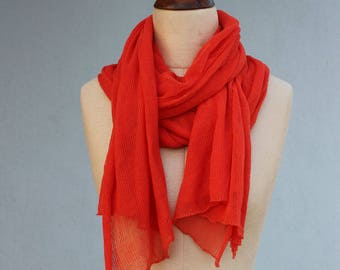 Oversized shawl wrap / Handmade knit scarf in soft cool cotton / Big & Lacy wrap