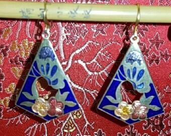 Vintage cloisonne cut out drop earrings