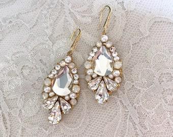 Statement Rhinestone Wedding Earrings, Swarovski Bridal Jewelry, Bridal Earrings, Crystal Earrings, rhinestone bridal earrings - white opal