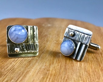 Cuff Links, Sterling Cuff Links, Mens fashion, Menswear, Blue Lace Agate, Regina Marie Designs, handcrafted mens jewelry