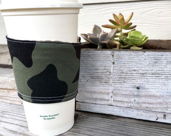 Camo Coffee Cozy Reversible Cup Cozy To Go Cup Sleeve Stocking Stuffer Teacher Gift