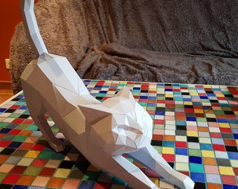 Gorgeous cat origami, papercraft made