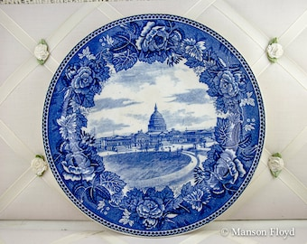 Vintage Wedgwood Plate Blue & White The Capital Washington DC Porcelain Plate ca 1902