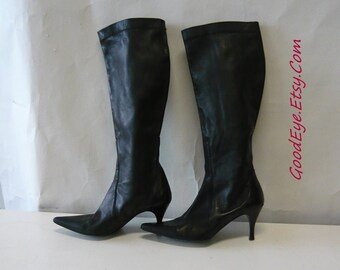 Vintage Cole Haan STRETCH LEATHER Boots / Size 7 B Eur 37 .5 UK 4 .5 / Black Pointed Toe Skinny High Heel /  Made in Italy 1990s