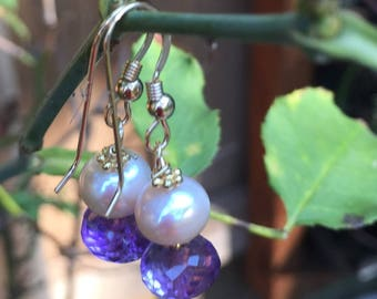 Pearls and  Amethyst Rondelle  Dangle Earrings  Amethyst Earrings   Pearl Dangles