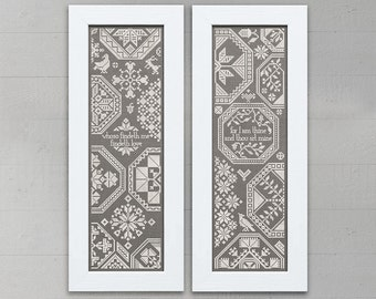 Two Quaker Sister Samplers - Cross Stitch Embroidery Pattern Chart - Instant Download PDF Booklet