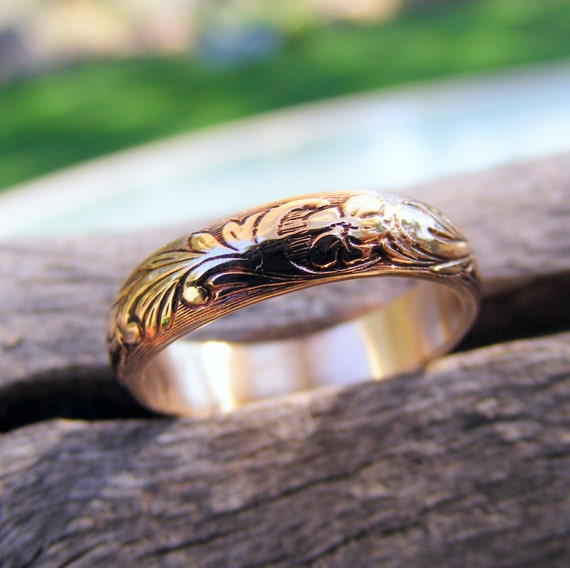 Wedding Gold Ring Band, Gold Floral Pattern Ring Band, 14K Gold Ring Band, Gold Wedding Ring, Gold Engagement Ring