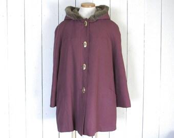 Hooded Swing Coat 70s Faux Fur Lined Purple Coat Vintage Womens Winter Jacket Montgomery Ward Large L