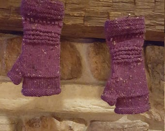 Hand Knit Purple Fingerless Gloves