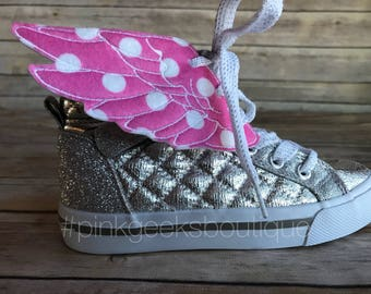 Pink and White Polka Dot Percy Jackson Hermes Inspired Lace Up Shoe Wings, shoe glam, shoe jewelry, shoe accessory, shoe decoration