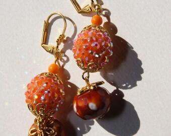 "2"" 1/4 L Fire Agate stone, Orange mother of pearl, Orange rhinestone, dangle earrings"