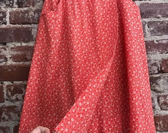 "Vintage Wrap Skirt Red Cotton Pockets Seventies 1970s Size Medium 28"" waist"