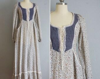 1970s Love in a Mist prairie dress | vintage 70s cotton maxi dress | cotton floral long dress