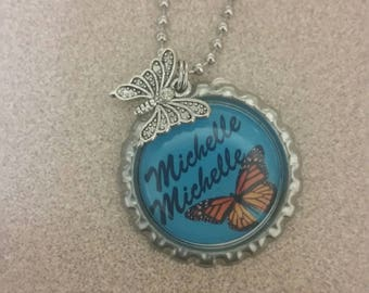 Butterfly necklace personalized with name of your choice bottlecap necklace cute ball chain necklace with charm