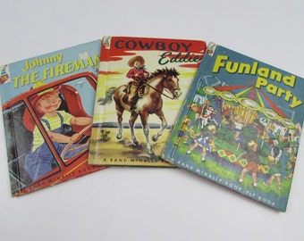 1950's Rand McNally Elf Books, Johnny The Fireman, Funland Party and Cowboy Eddie.