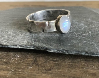 Rainbow Moonstone ring in silver 10.5