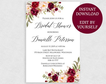 4x6 invitation etsy 4x6 bridal shower invitation template editable pdf printable red rose invites 4 x 6 instant download stopboris Image collections