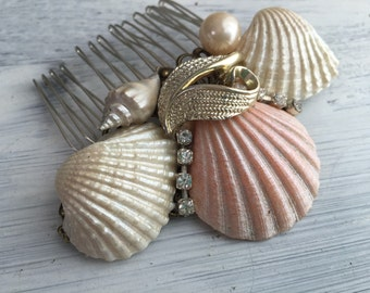 Beach Wedding No.19 - Shimmering Pearl Seashell and Vintage Jewel Assemblage Bridal Hair Comb, Coastal Wedding in Peach Blush and Gold