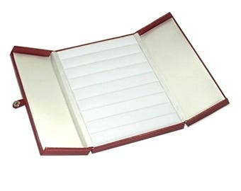Red Double Door Leatherette 8 Row Ladies Rings Jewelry Packaging Organizer Display Gift Box